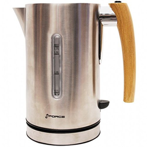 GForce GF-912-116 Stainless Steel Jug Kettle 1.7 Liter 360° Cordless Base With Blue LED Lights 1200 Watts