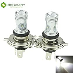See 2 X H4 P43T CREE 20W Cool White XP-E LED 1600LM 6500K Car Rear Fog Light Bulb DC12V-24 Details