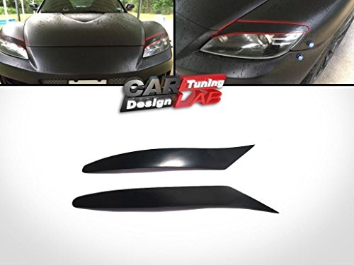 Black Headlights Eyebrows Eyelids Covers for 2004-2008 Mazda RX-8 RX8 ABS (Mazda Rx8 Headlight Eyelids compare prices)