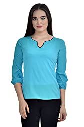 Femninora Turquoise Blue Color Casual Top With Black Neck Piping