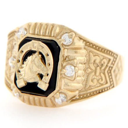 14ct Gold Good Luck Horseshoe Onyx CZ Mens Ring Jewellery