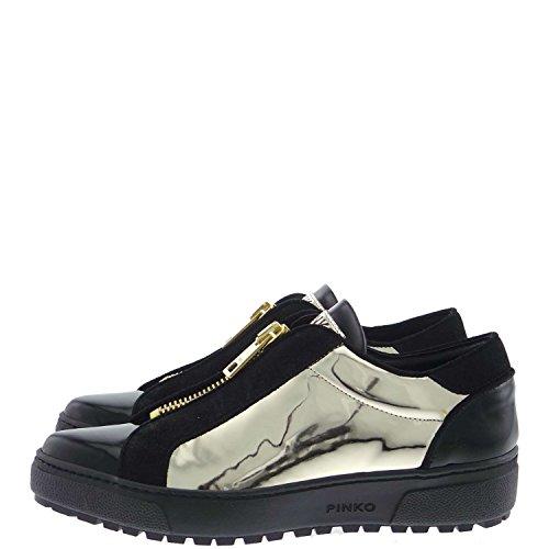 Pinko COMETA Sneakers Donna Camoscio/vernice/laminato Nero/oro Nero/oro 37