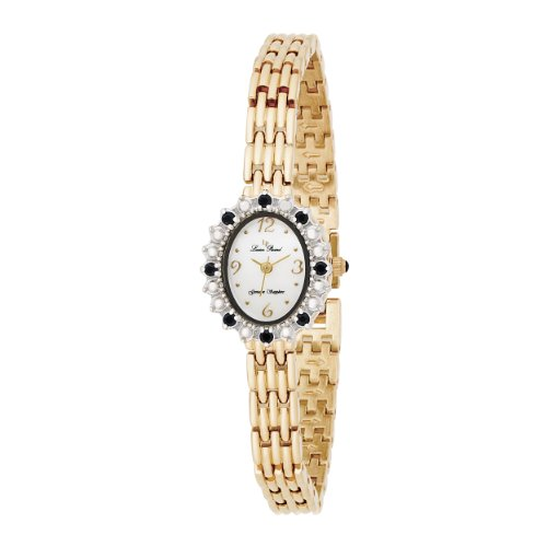 Lucien Piccard Women's 71511SAWH 14kt Gold-Plated Genuine Blue Sapphire Accented Watch
