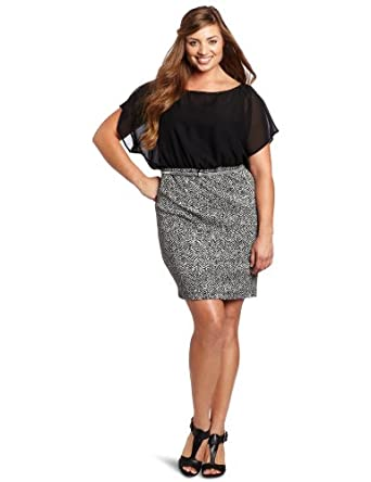 My Michelle Juniors Plus-Size Dolman Top, Gray/Black, 2X