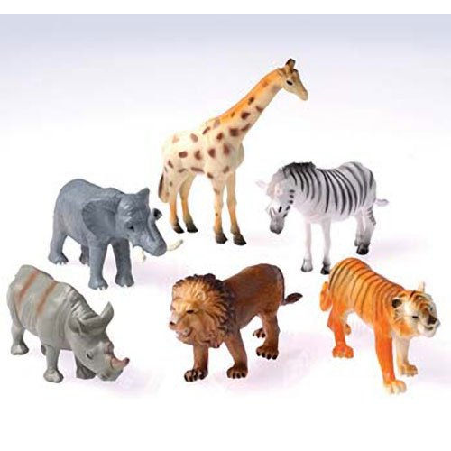 "Dozen Plastic Toy Safari Animals 4 1/2"" - 1"