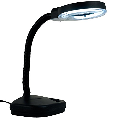 Eurotool Reading Lamp, Illumination Magnifier Glass with 5x and 10x Zoom