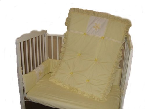 Baby Doll Bedding Solid With Flower Applique Port-A-Crib Bedding Set, Yellow front-792621