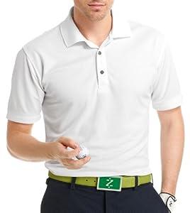IZOD Men's Basic Short Sleeve Solid Grid Golf Polo, White, Small