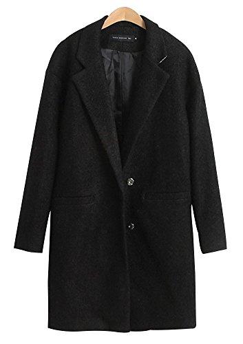 Nuoyan Women'S Pure Color Long Sleeve Wool Mid-Length Winter Coats Jackets 3Xl Black