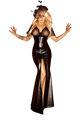 Langes Wetlock Kleid mit transparentem Dekolette