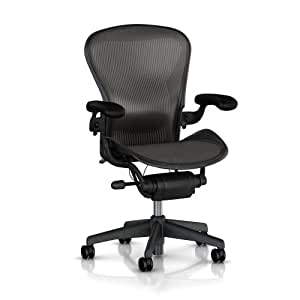 Aeron Chair by Herman Miller: Highly Adjustable - Lumbar Pad Support Cushion - Adjustable Vinyl Arms - Tilt Limiter - Standard Carpet Casters - Graphite Frame/Carbon Classic Pellicle - Size B (Medium)