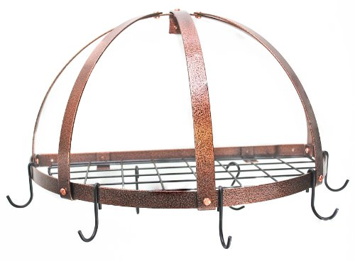 Rogar Half Dome Pot Rack w/ Grid in Hammered Copper & Black