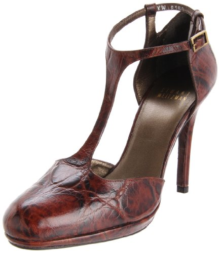 Stuart Weitzman Women's Ovaltee Pump,Fudge Cuban Croco,8.5 M US