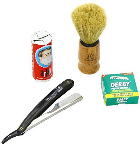 Shaving Factory SF228 Straight Rasierer in schwarz, Shaving Factory Rasierpinsel, 100 Derby Rasierklingen, Arko Rasiercreme-Stick thumbnail