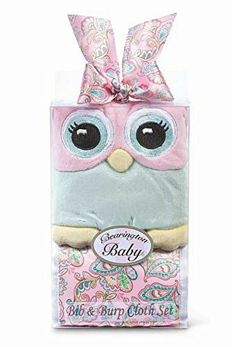 Lil' Hoots Bib and Burp Cloth Set by Bearington Collection - 1