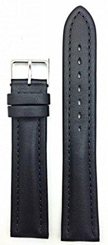 20Mm Long, Black Soft Leather, Medium Padded Watch Band