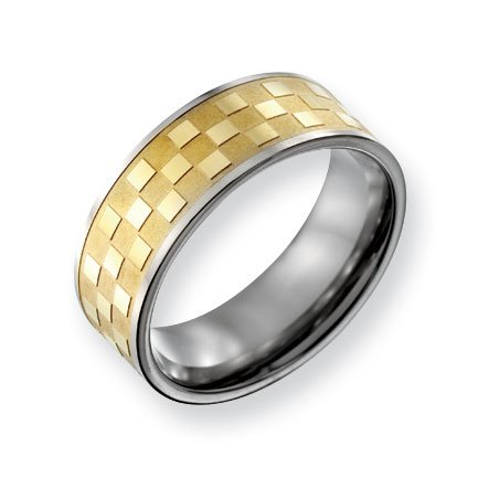 Titanium 8mm Gold-plated Satin and Polished Checkered Band Ring - Size 14 - JewelryWeb
