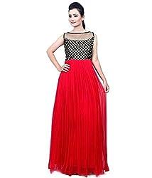 Clickedia Women & Girls Beautiful Red & Black Semi Stitched Net Gown