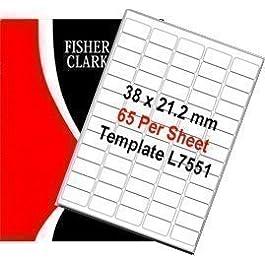 Fisher Clark - Étiquettes Adresse Feuilles A4 Blanc 65 Étiquettes Par Feuille x 500