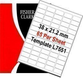 Fisher Clark étiquettes à adresse Blanc A4 100 planches de 65 étiquettes Par feuille