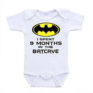 I Spent 9 Months in the Batcave Batman Inspired Parody Bodysuit or Shirt (Newborn)