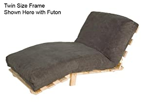 Twin Size Compact Futon Set Solid Wood Armless Frame with Cotton-Foam Mattress