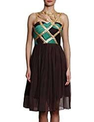 Spoiltchic Women Turq Brown Chiffon Dress