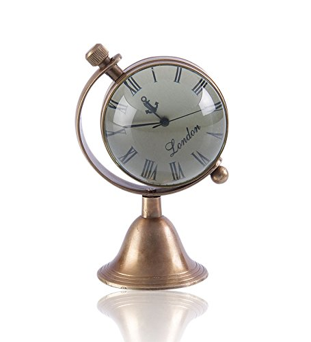 Antique Retro Vintage-Inspired Brass Metal Craft World Globe Table Clock Home Decor - 1.8 Inch 2