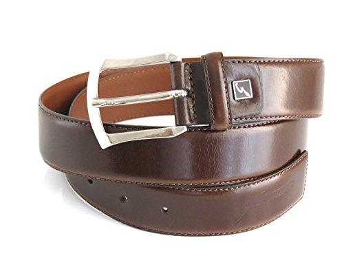 Gattinoni Cintura in pelle di colore marrone lucido con logo in evidenza