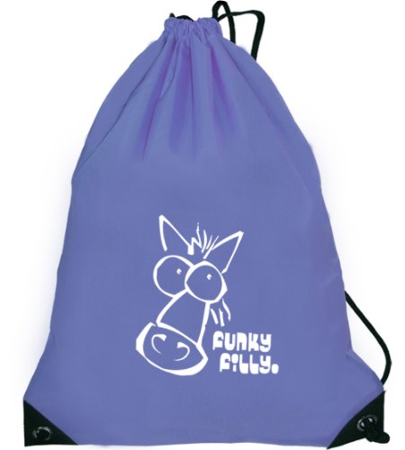 Funky Filly Girls School Drawstring Pony 'White Horse Head' Light Purple Swim Gymsac Grooming Kit Bag To Wear Over The Shoulder. Size 45 X 34 Cms