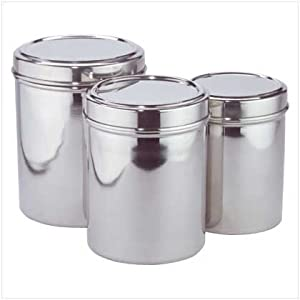 Stainless Steel Kitchen Storage Canisters Set Of Three