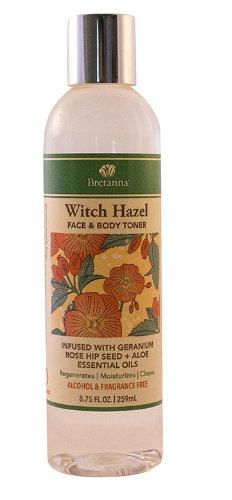 Bretanna Witch Hazel Alcohol Free Face & Body Toner Infused With Geranium Rose Hip Seed Aloe Essential Oils 8.75Oz
