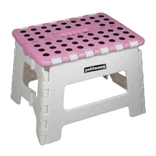 Capventure Miss Daisy - Taburete plegable (plástico, 30x25cm), color rosa y gris