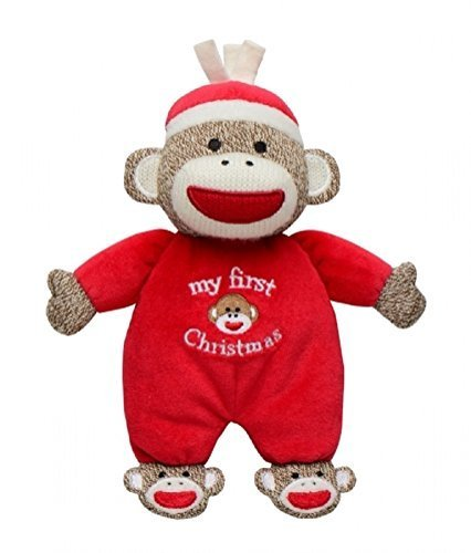 "Baby's ""My First Christmas"" Plush 9"" Sock Monkey Rattle"