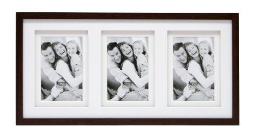 Deknudt Frames S65KQ3-13.0X18.0 Cadre Photo Double Passe-Partout pour 3 Photos Bois Brun 57,5 x 27,5 x 2,3 cm