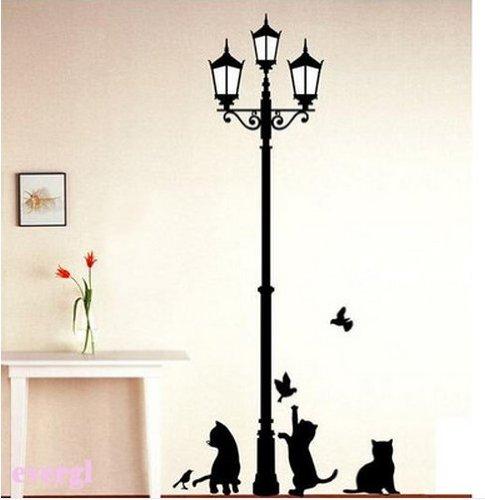 Hotportgift Lamp&Cat Bird Removable Wall Sticker
