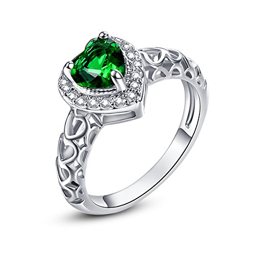 Psiroy 925 Sterling Silver 6mm Chic Heart Cut Emerald Quartz Halo Filled Ring