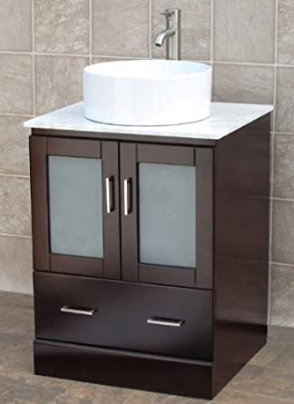 "24"" Bathroom Vanity Solid Wood Cabinet, White Tech Stone (Quartz), Vessel Sink Mo6"