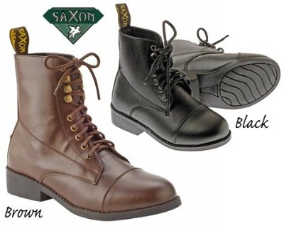 Saxon Equileather Lace-Up Childs Paddock Boots - Color:Brown Size:13