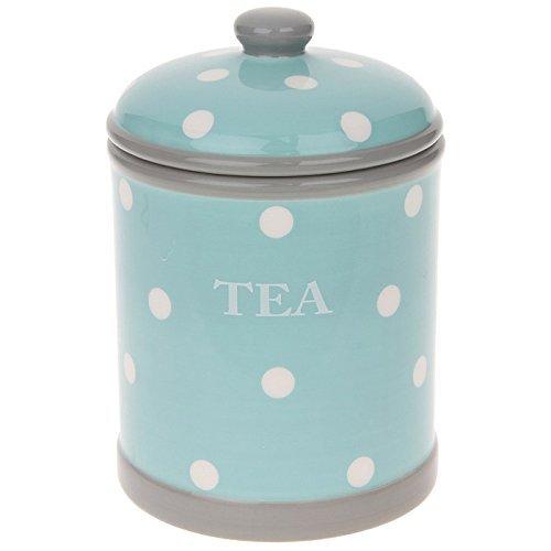 Home Sweet Home Zartes blau & Weiß Polka Dots Keramik Aufbewahrungsglas für Tee