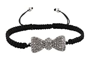 Black with Silver Iced Out Bow Tie Shamballah Lace Bracelet