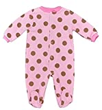 Fleece Baby Onesie Sleepsuits Boys Girls 3 6 months Large Pink Brown Spot