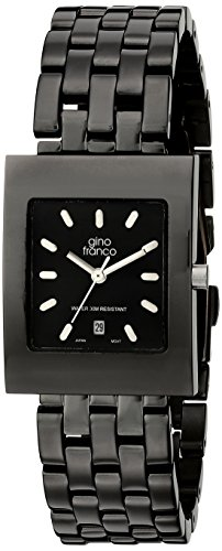 gino franco Men's 927BK Square Gunmetal Ion-Plated Bracelet Watch