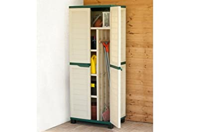 6ft Beige Plastic Garden Storage Utility Shed Cabinet with shelves
