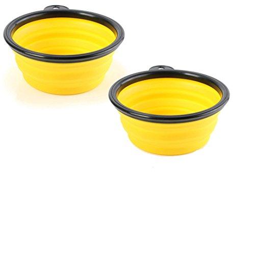 Monogram Inc Collapsible Pet Travel Bowl ( 2-Pack ) (2, Yellow)