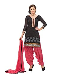 Banorani Womens Black & Pink Color Chanderi & Cotton Casual,Trendy,Wedding,Party,Festive,Office ,Lace, Embroidered & Unstitched Salwar Suit Dress Material