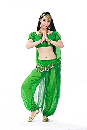 Dreamspell 2014 Deep Green Chiffon Belly Dance Costumes Best Gift