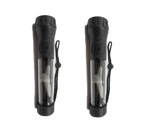 Solar Powered Waterproof Compact Camping Flashlight Black Handle Pack Of 2