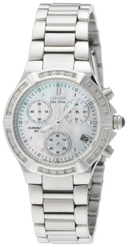 Citizen Women's Eco-Drive Riva Diamond Bezel Chronograph Watch #FB1020-52D