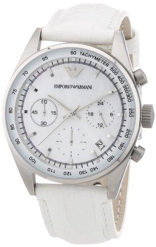 Emporio Armani AR6011 - Reloj cronógrafo de cuarzo para mujer con correa de piel, color blanco